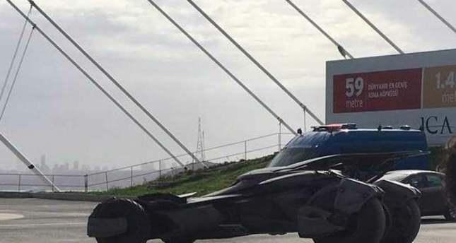 Batmobile crosses Istanbul's third bridge