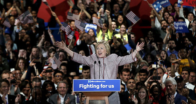 U.S. Democratic presidential candidate Hillary Clinton reacts to the cheers of the crowd at her New York presidential primary night rally in the Manhattan borough of New York City, U.S., April 19, 2016. (Reuters Photo)
