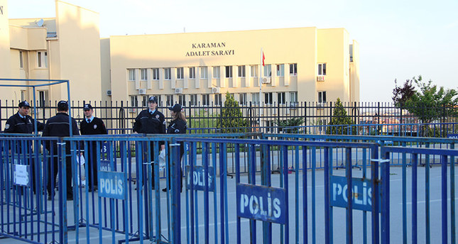 Police took large security measures in front of Karaman courthouse during the trial. (IHA Photo)