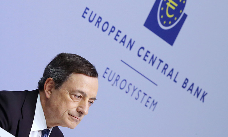 This Thursday, March 10, 2016 file photo shows, President of the European Central Bank, Mario Draghi, speaking during a press conference following a meeting of the governing council in Frankfurt (AP Photo)