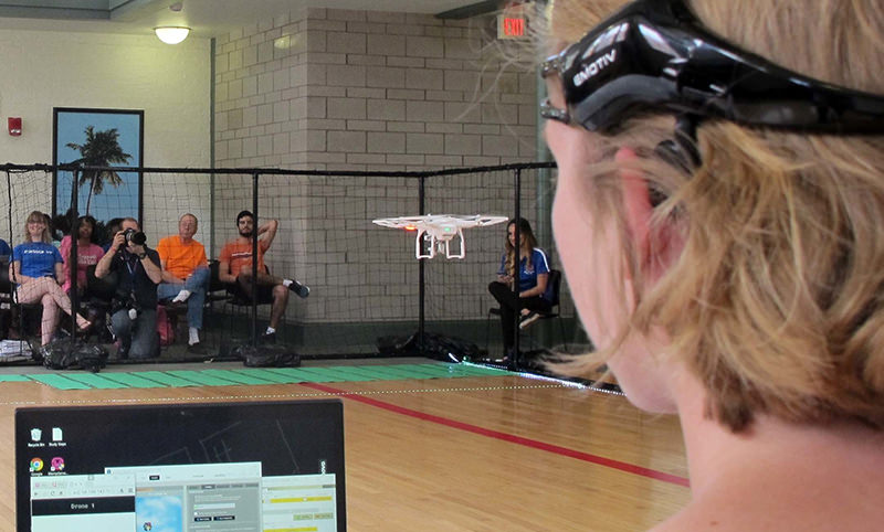 In this April 16, 2016 photo. a University of Florida student uses a brain-controlled interface headset to fly a drone during a mind-controlled drone race in Gainesville, Fla. (AP Photo)