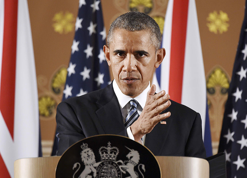 US President Barack Obama speaks during a press conference at the Foreign and Commonwealth Office in central London. (REUTERS Photo)