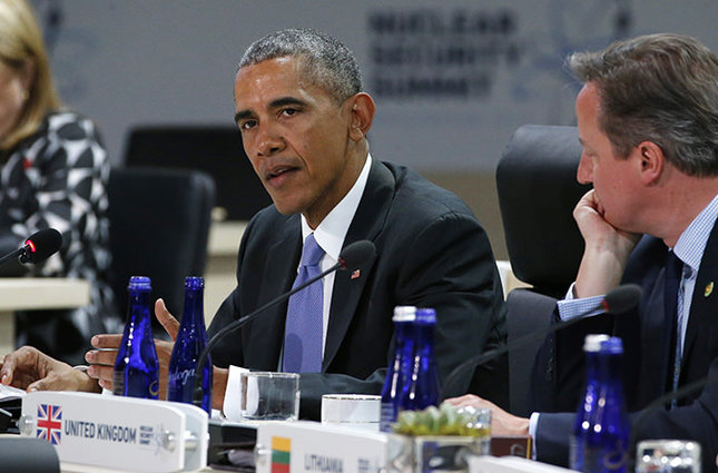 File photo of U.S. President Obama and British Prime Minister Cameron at Nuclear Security Summit in Washington  (Reuters Photo)