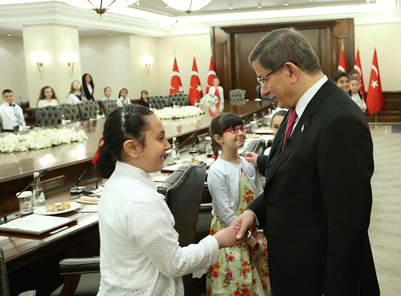 PM Davutou011flu hosts children at u00c7ankaya Palace as part of April 23 National Sovereignty and Children's Day
