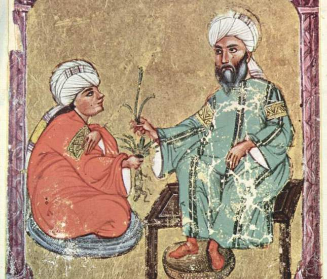 A manuscript illustrating an early Islamic physician.