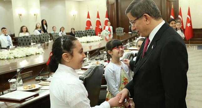 PM Davutoğlu hosts children at Çankaya Palace as part of April 23 National Sovereignty and Children's Day