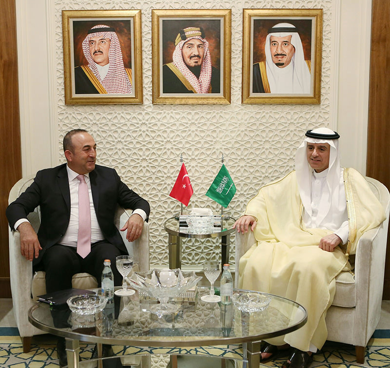 Çavuşoğlu and his Saudi counterpart Adel al-Jubeir also met Sunday and discussed regional issues.