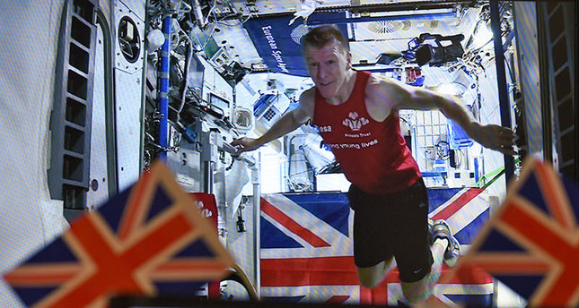 Peake ran a 42 kilometre marathon on a tread mill in space onboard the (ISS). (AP Photo)