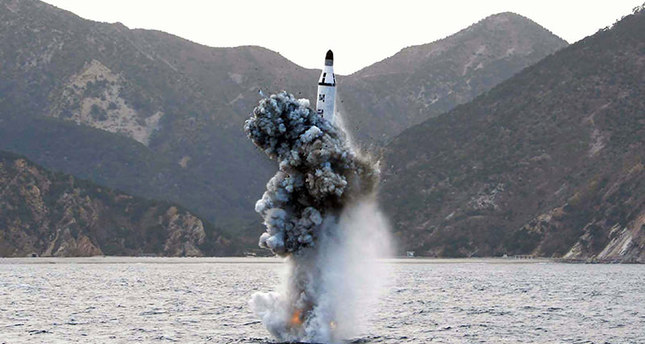 This picture released from North Korea's official Korean Central News Agency (KCNA) on April 24, 2016 shows the underwater test-fire of a strategic submarine ballistic missile. (REUTERS Photo)