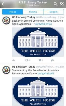 This mobile screenshot shows the U.S. embassy using Armenian Genocide Memorial Day in Turkish tweet instead of the original Armenian Remembrance Day.