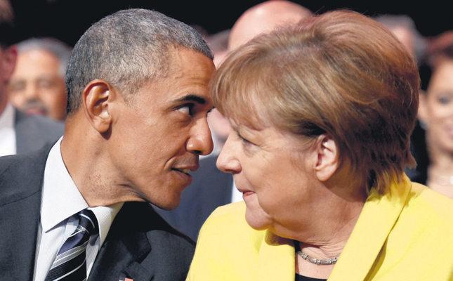 US President Barack Obama (L) and German Chancellor Angela Merkel