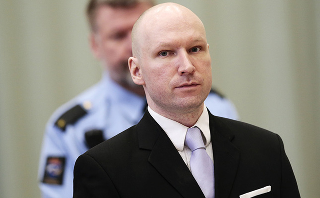 In this Friday, March 18, 2016 file photo, Anders Behring Breivik stands on the fourth and last day in court in Skien, Norway (AP Photo)