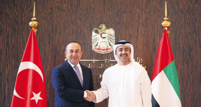 FM Çavuşoğlu (L) with UAE FM al-Nahyan