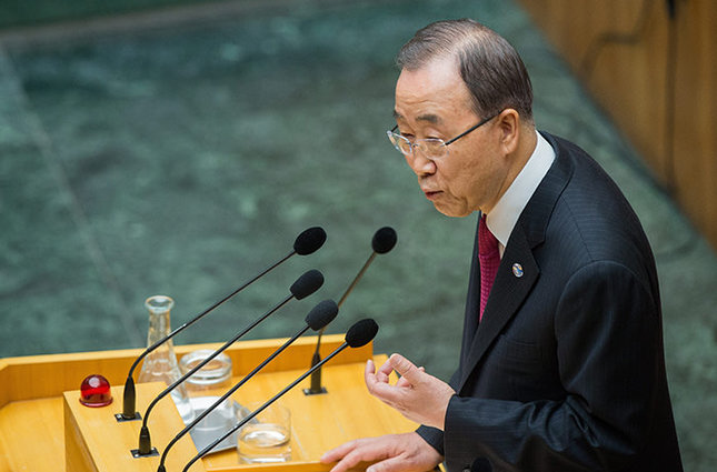 United Nations (U.N.) Secretary-General Ban Ki-moon delivers a speech in the Parliament in Vienna, Austria, on 28 April 2016 (EPA Photo)