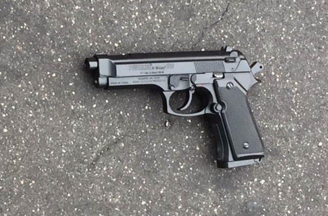 A replica handgun was recovered from the scene which is pictured (Baltimore Police Dept. Facebook)
