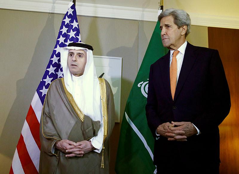 Saudi FM Adel al-Jubeir (L) talks next to US Secretary of State John Kerry during a meeting on Syria in Geneva, Switzerland May 2, 2016. (Reuters)