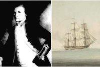 Capt. James Cook (L) shown in an undated portrait by John Webber, the depiction of HMS Endeavour shown on the right.