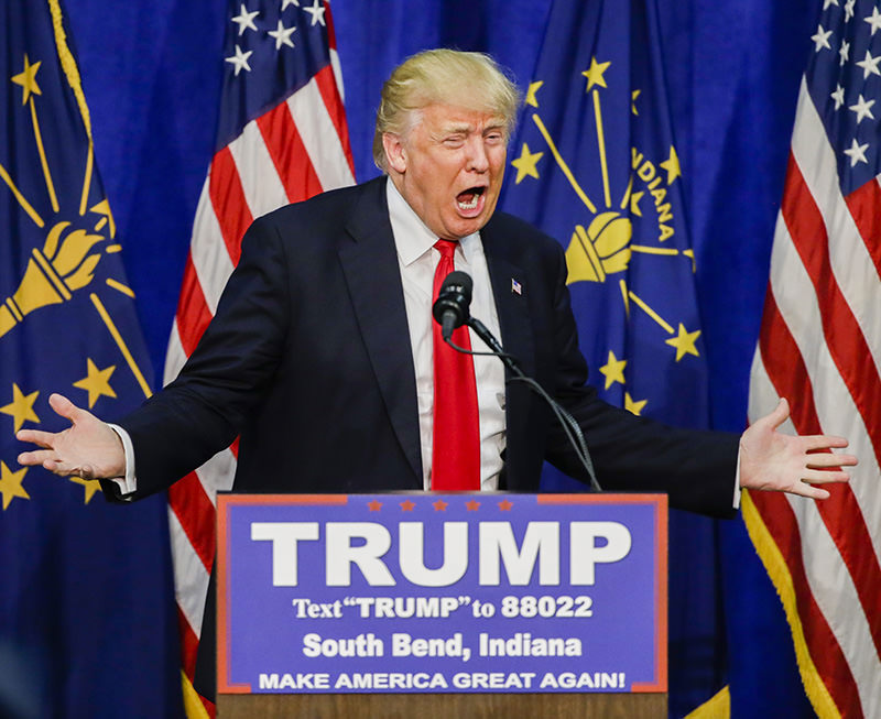 US Republican presidential candidate Donald Trump campaigns in South Bend, Indiana (EPA Photo)