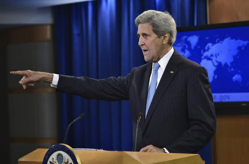 US Secretary of State John Kerry speaks in the briefing room of the State Department on May 3, 2016 in Washington, DC. (AFP Photo)