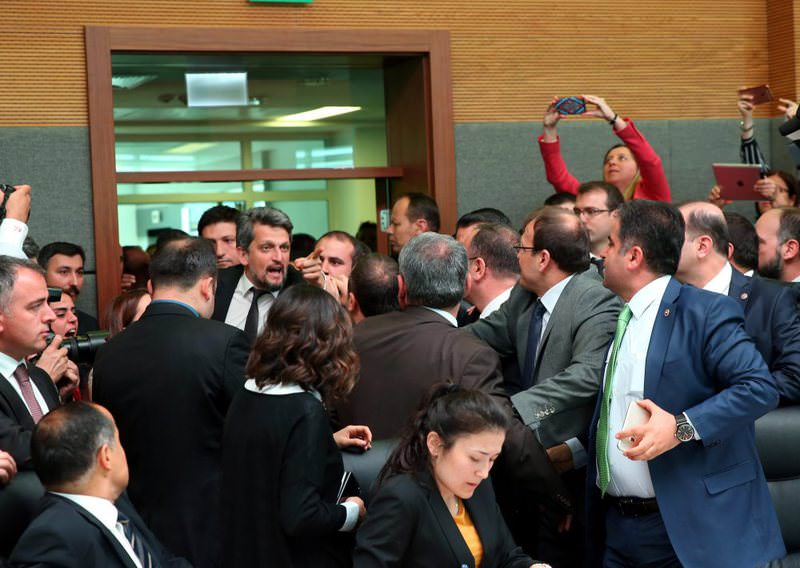 HDP deputies react violently as parliamentary constitutional committee discusses the lifting of immunities.
