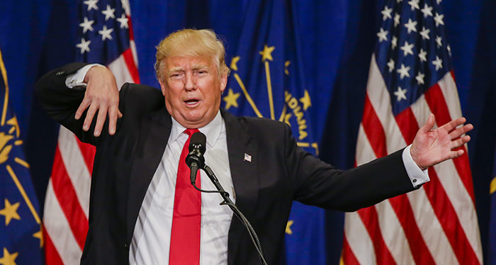 Businessman and Republican presidential candidate Donald Trump gestures as he speaks at a campaign rally at the Century Center in South Bend, Indiana, USA, 02 May 2016.