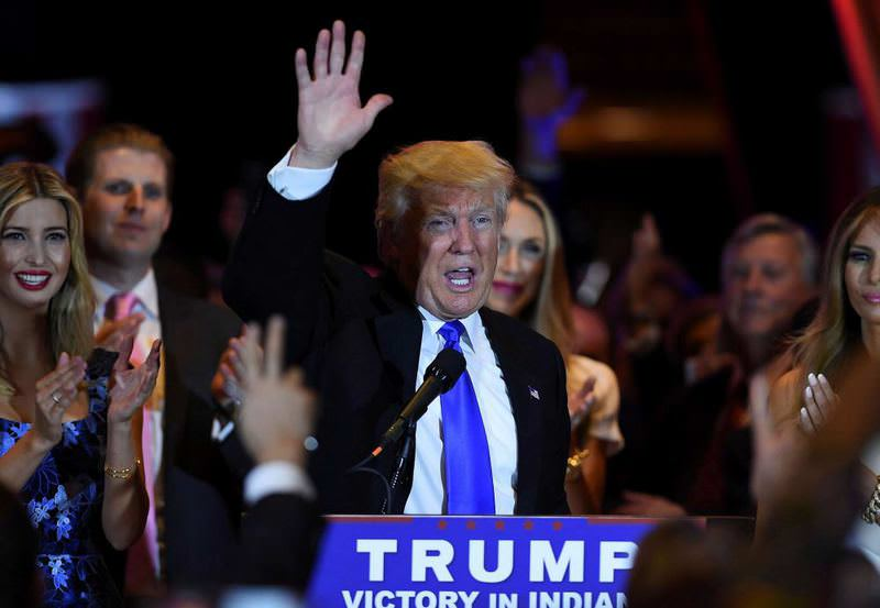 Donald Trump celebrates his victory in Indiana.