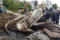 An unlucky driver's parked car slid into a sinkhole after a road collapsed due to an alleged burst water pipe in the Turkish capital Ankara on Friday.  The incident occurred at around 5.30 a.m....
