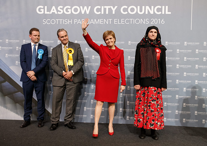 Leader of the Scottish National Party (SNP), Nicola Sturgeon (C) reacts after being re-elected to serve Glasgow Southside at the Emirates Arena in Glasgow, Scotland, Britain, 06 May 2016 (EPA Photo)