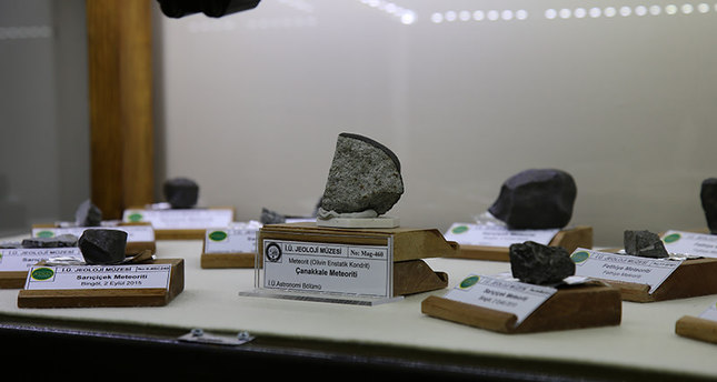 A part of the meteorite on display at Istanbul University's Geology Museum. (AA Photo)
