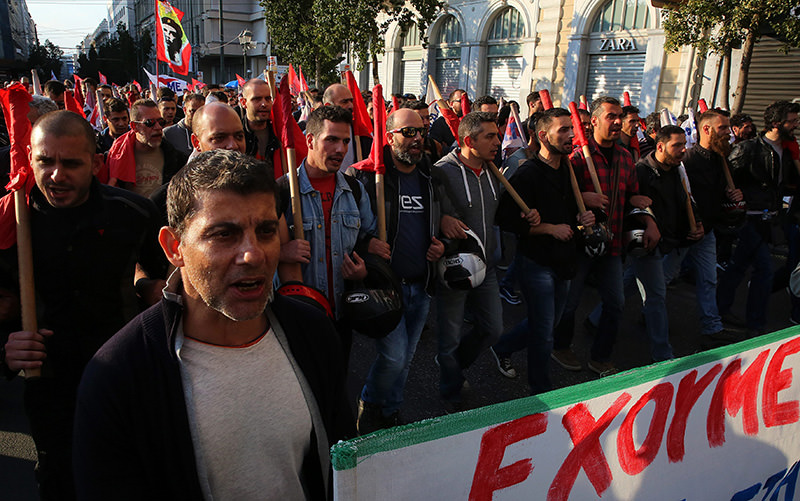 Demonstrators, affiliated to the Communist Party, protest against reforms on the pension and the tax system by the Greek government, Athens, Greece, 07 May 2016 (EPA Photo