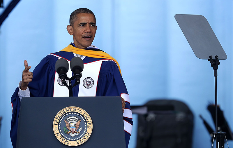 U.S. President Barack Obama addresses the 2016 commencement ceremony at Howard University May 7, 2016 in Washington, DC. (AFP Photo)