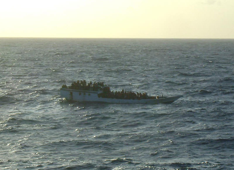 This June 27, 2012 photo released by Australian Maritime Safety Authority shows a boat carrying asylum seekers 200 kilometers north of Christmas Island (AP)