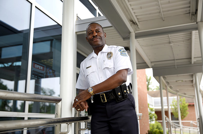 Delrish Moss before addressing the crowd after being sworn in as the new Ferguson chief of police on Monday, May 9, 2016. (AP Photo)