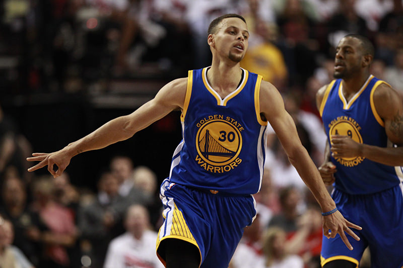 Golden State Warriors guard Stephen Curry celebrates making a three point shot during the second half of game four of the NBA Western Conference semifinals basketball game. (EPA Photo)