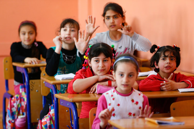 Syrian children in a classroom at an education center in Turkey. Experts say Turkey can save a ,lost generation, of Syrian children affected by war.