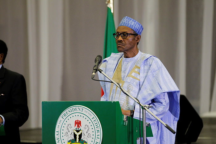 Nigeria's President Muhammadu Buhari speaks during a joint news conference with Cameroon's President Paul Biya in Abuja, Nigeria, May 4, 2016 (Reuters Photo)