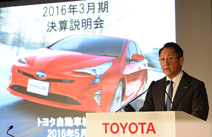 Toyota Motors president Akio Toyoda delivers a speech during a press conference to announce the company's financial results at their Tokyo headquarters on May 11, 2016 (AFP Photo)