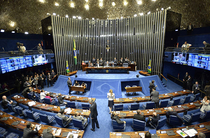 A general view of the Brazilian Senate as it begins a session that will decide whether Brazilian President Dilma Rousseff will be subject to impeachment that could end her mandate, in Brasilia, Brazil, 11 May 2016. (EPA Photo)
