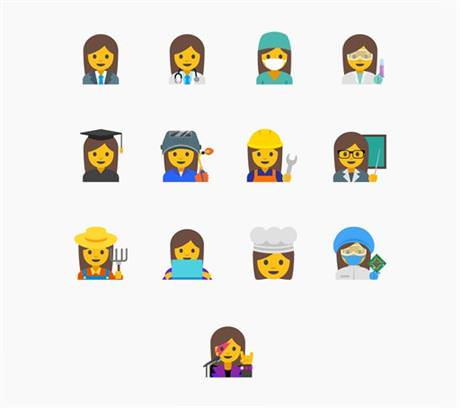 This image provided by Google shows proposed female emojis. Google said it wants to create a new set ,with a goal of highlighting the diversity of women's careers and empowering girls everywhere., (Google Photo via AP)