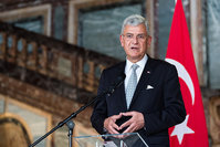 Turkey's EU Affairs Minister Volkan Bozkir addresses the media after a meeting with Belgium Foreign Minister Didier Reynders at the Egmont Palace in Brussels on Thursday May 12, 2016. (AP Photo)
