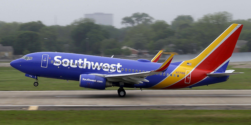 In this April 23, 2015, file photo, a Southwest Airlines jet takes off from a runway at Love Field in Dallas. (AP Photo)