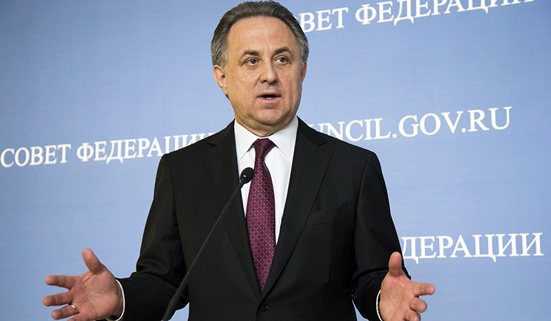 In this file photo taken on Wednesday, April 20, 2016, Russia's Sports Minister Vitaly Mutko gestures while speaking during his and FIFA President Gianni Infantino news conference (AP Photo)