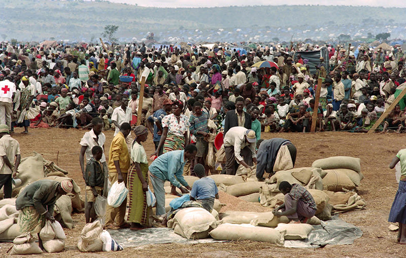 This file photo taken on May 20, 1994 shows some 90,000 Rwandan refugees waiting to get food from the Red Cross in the Benako, Tanzania refugee camp (AFP Photo)
