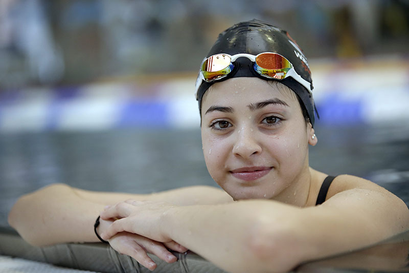 Yusra Mardini during a training session in Berlin, Germany (AP)