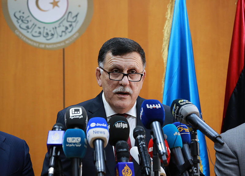 This file photo taken on March 30, 2016 shows Libya's UN-backed Prime Minister-designate, Fayez al-Sarraj speaking during a press conference in the capital Tripoli.