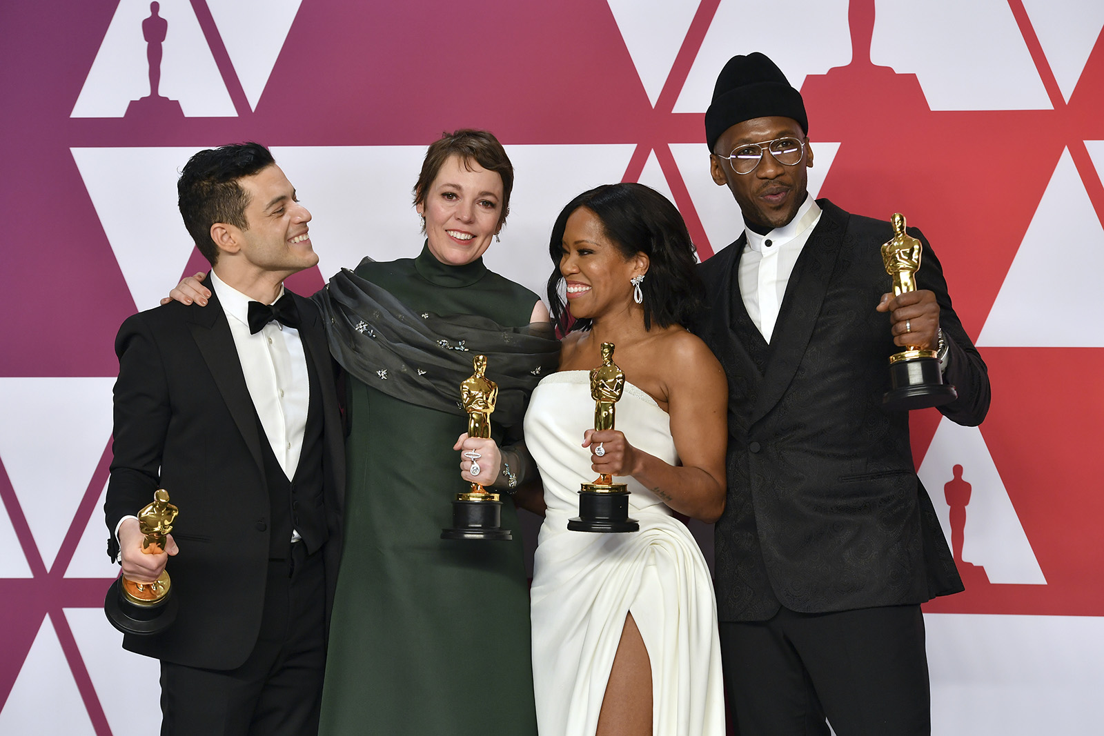 Rami Malek, from left, winner of the award for best performance by an actor in a leading role for ,Bohemian Rhapsody,, Olivia Colman, winner of the award for best performance by an actress in a leading role for ,The Favourite,, Regina King, winner of the award for best performance by an actress in a supporting role for ,If Beale Street Could Talk,, and Mahershala Ali, winner of the award for best performance by an actor in a supporting role for ,Green Book,, pose in the press room at the Oscars on Sunday, Feb. 24, 2019, at the Dolby Theatre in Los Angeles.