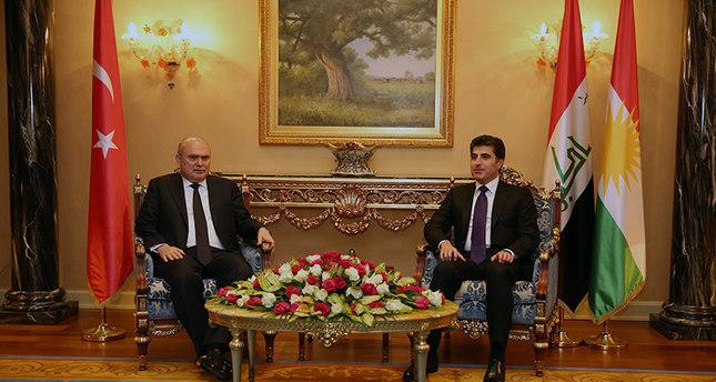 اجتماع وزير الخارجية التركي، فريدون سينيرلي أوغلو، مع رئيس وزراء الحكومة المحلية في اقليم شمال العراق، نيجيرفان بارزاني