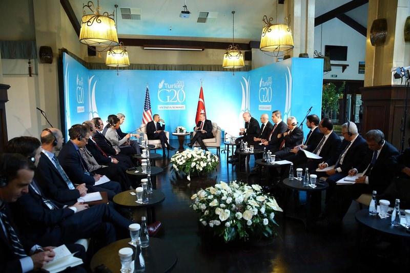 صورة خلال الاجتماع الذي جمع الرئيسين التركي رجب طيب أردوغان والأمريكي باراك أوباما