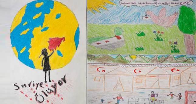 جامعة تركية تفتتح معرضا لرسومات الأطفال السوريين الناجين من الحرب