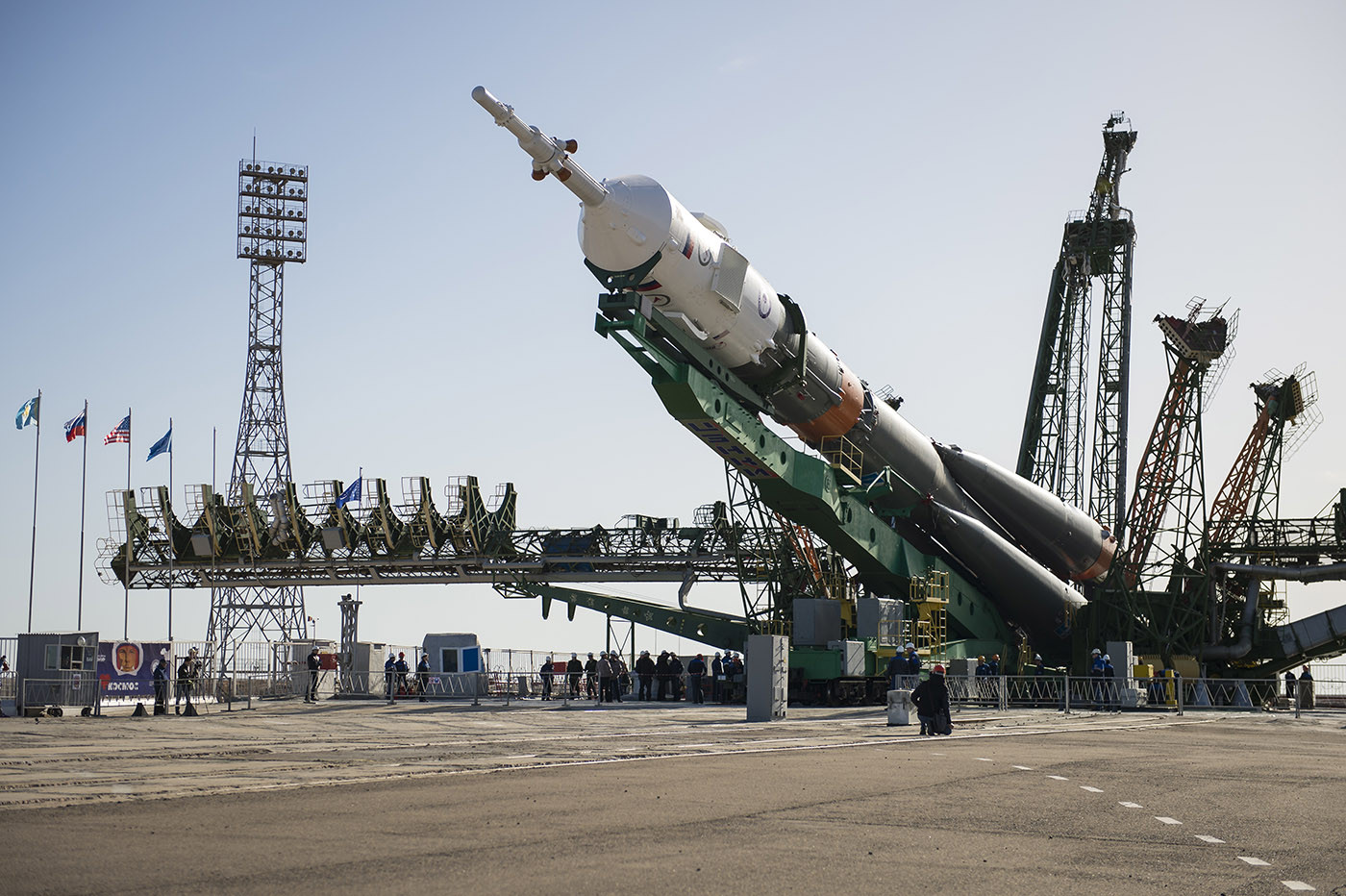 The Soyuz MS-04 spacecraft is raised into position on the launch pad Monday, April 17, 2017, at the Baikonur Cosmodrome in Kazakhstan. (AP Photo)